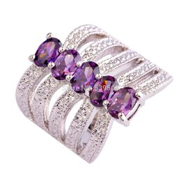 Wholesale Ring Amethyst 925 - Women Jewelry Oval Cut Purple Amethyst 925 Silver Ring Size 6 7 8 9 New Fashion Attractive Design Rings Wholesale Free Shipping