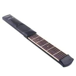 Wholesale Wooden Model Guitar - Wholesale- Small-size Portable Pocket Guitar 6 Fret Model Wooden Practice 6 Strings Guitar Trainer Tool Gadget W Bag Pick For Beginners