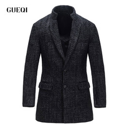 Wholesale Mens Black Leather Winter Overcoats - Fall-GUEQI 2016 Mens Wool Winter Jacket Long Woolen Men's Overcoat Leather Collar Warm Wool Outwear For Men XXL Black Coat 14100