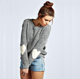 Wholesale Heart Sweater Xl - Lady fashion long sleeve crew neck heart-shaped pattern jointing knitted sweater women sweety casual woolen fleece preppy style