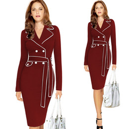 Wholesale Womens Long Cocktail Dresses - New Womens Winter Autumn Vintage Pinup Retro Elegant Long Sleeve Party Cocktail Prom Sheath Pencil Casual Dress