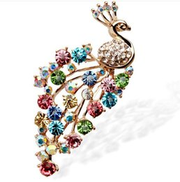 Wholesale Wholesale Costume Jewelry Pins - 2016 Colorful White Crystal Rhinestone Enameling Peacock Pin Brooch Fashion wedding party costume jewelry gift brooches