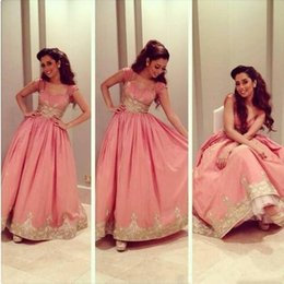Wholesale Celebirty Dresses - 2015 Arabia Myriam Fares Celebirty Dress Evening Dress Pink Taffeta A-Line Gold Applique Cap Sleeve Formal Party Gown Prom Dresses Vestidos