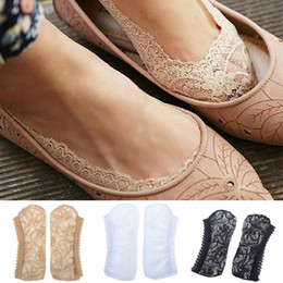 Wholesale lace ankle socks wholesale - 12 pairs Summer Cool Low Cut Invisible Antiskid Slippers Shallow Mouth Thin Lace Socks women 2015 Hot Fashion Cheap Free Ship