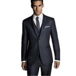 Wholesale Elegant Men Tuxedo - Wholesale-Elegant mens wedding suits groom wear tuxedo black gold tuxedo formal occasion bussiness suits mens suits(jacket+pants+vest)