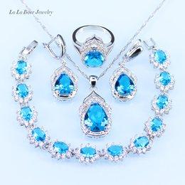 Wholesale Necklace Hoop Rings - L&B silver 925 Bracelet Sky Blue Austrian Crystal Jewelry Sets Women Wedding zircon Hoop Earrings Pendant Necklace Ring