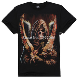 Wholesale Long Sleeve Skeleton Shirt - men Cool Style THE skeleton pirates T Shirt The Punisher Black Short Sleeve T-shirt male Clothing Top Tees For Summer tx09