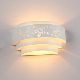 Wholesale Fast Butterfly - New Fashion Modern Brief Butterfly Flower Wall Lights White Mirror Front Llight Iron Wall Lamp High Quality,fast shipping