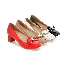 Wholesale Color Block Strap Heels - ladies bowknot slip on lazy shoes block heels candy color dress shoes for women