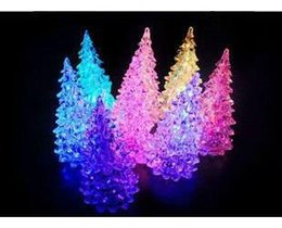 Wholesale Christmas Tree Night Lights - LED Night Light, LED Glass Crystal Christmas Tree Night Lamp Gift, Seven Color Changing promotion Including batteries 13pcs lot