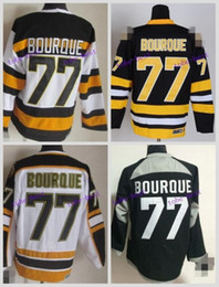 Wholesale Vintage White Top - Top Quality Mens Boston Bruins Jerseys #77 Ray Bourque CCM Vintage Ice Hockey Jersey,Size M-XXXL,Embroidery Logo Can Mix Order