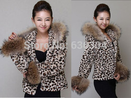 Wholesale Leopard Fur Coat Rabbit - Wholesale-New free shipping 2015 women in the fall and winter of imitation fur coat short cap leopard imitation rabbit fur coat