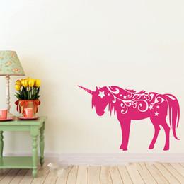 Wholesale Pink Nature - Unicorn Vinyl Wall DECAL Animal Wall Sticker Art Room Home Decor