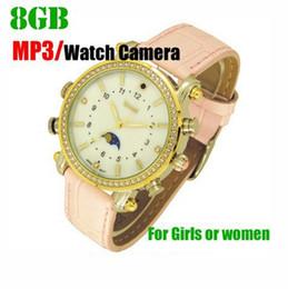 Caméra lecteur mp3 en Ligne-Femmes fille dame montre-bracelet caméra avec lecteur MP3 8 Go étanche montre femme Pinhole CAMERA montre en cuir mini DV DVR dropshipping