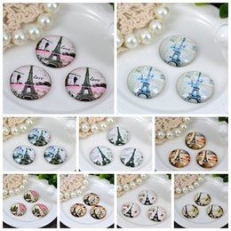 Wholesale Magnifying Domes - Wholesale-25mm Size Eiffel Tower Glass Cabochons 10PCS Romantic Love DIY Magnifying Round Dome Embellishments