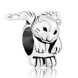 Wholesale Enamel Cat Charms - Alloy Material With Rhodium Silver Color Plating fancy winged kitten cat Bead Black Enamel Charm Fit Pandora Bracelet