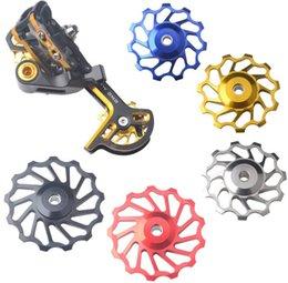 Wholesale Cnc Bike Wheels - Wholesale-MTB Wheel Rear Derailleur 11T 13T 4 color,7005 CNC Alloy Rear Derailleur Guide Pulley Bearing Jockey Wheels