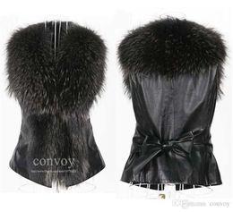 Wholesale Leather Mink Coats Women - Free Shipping Womens Winter Lapel Neck Faux Mink Fur Leather Vests Warm Sleeveless Vest Jacket Coat Waistcoat Outwear Plus Sizes WT177