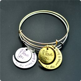 Wholesale Alex Ani Bracelet Gold - 2015 New Fashion Pendant bracelet Alex and ani i love you to the moon and back pendant bracelet