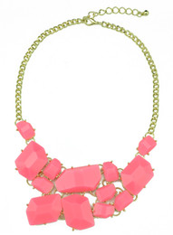 Wholesale Necklace Bib Gems - Charming Choker Bib Necklace New Arrival Gold Metal Resin Gem Stone Fashion