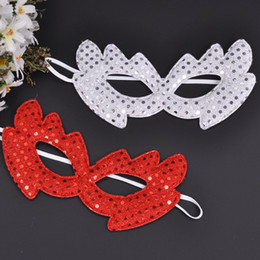 Wholesale Halloween Pvc Props - Red White Color Sequins Princess Mask Half Face Venice Masquerade Dancing Sexy Mask Halloween Cosplay Props Festive Supplies 50pcs lot SD442