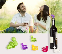 Wholesale Wine Kits Wholesale - 2015 Small Drunkard Silicone Champagne Wine Bottle Stopper Kits with Rubber Wine Glass Cup Marker Set Novelty Gift