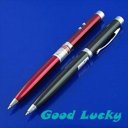 Wholesale Laser Lights Pens - Wholesale-Mini 3 in 1 LED Flashlight Light Lamp New + Red Black Laser Ballpoint Pen DL070 5pcs lot