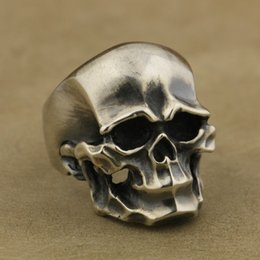 Wholesale Mens Sterling Silver Biker Rings - 925 Sterling Silver Heavy Skull Ring Mens Biker Rock Punk Ring TA43 US Size 7~15