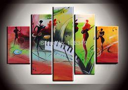 pinturas al óleo de calidad de las mujeres Rebajas Pintado a mano el arte de la pared de aceite enmarcado movimiento música móvil decoración del hogar paisaje pintura al óleo de la lona 5pcs un conjunto