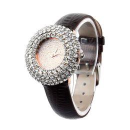 Wholesale Inlay Buckle - Attractive Fulll Diamond Rhinestone Case Women Luxury Starry Leather Inlay Quartz Wrist Watches Stylelish AG7