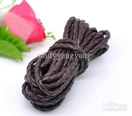 Wholesale Braided 5mm - JLB 50m lot 5mm Wholesale lots Fashion Brown Braiding PU Leather Jewelry Cords DIY Materials Accessories Free shipping