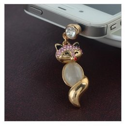 Wholesale Dust Plug Fox - Wholesale-Korean version of the new fall sexy cute mini cat's eye fox mobile phone dust plug influx of people jewelry LM-P052