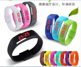 Wholesale Display 14 Led - 500pcs hot sale 14 colors Sports Wristwatch led Digital Display touch screen watches Rubber belt silicone bracelets watch D569