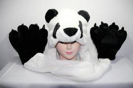 Wholesale Wholesale Scarf Sets - Fashion winter animal hat even paw gloves 3 syncretic plush hat tiger Hats Scarves & Gloves Sets mixs Unisex