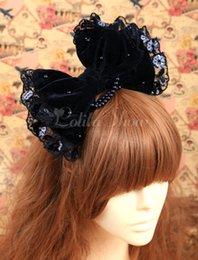 Wholesale Black Hair Tie Cosplay - Wholesale-Gothic Black Bow Cotton Lolita Hair Tie Cosplay Costumes