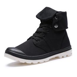 Кружевные стили онлайн-Мужская обувь Army Boots Весенняя осень Lace-up Высокий стиль Паладин Холст Модный тренд Молодежная квартира с резиновым ботинком для обуви 110X
