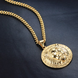 Wholesale Lion Costume Men - European Stainless Steel Jewelry Man Hiphop Necklace 18K Plating Gold Lion Head Steel Pendant