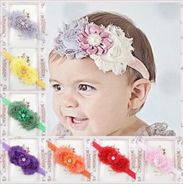 Wholesale Wedding Bands For 15 - baby girls headbands flowers bows girls headbands hair accessories mix 15 colors for babies girls hair bow bands wedding KHA98