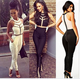 Wholesale Halter Mesh Jumpsuit - Women sexy halter bandage Jumpsuits 2015 Fashion Net yarn splicing halter Milenka Mesh Panel romper bodycon overalls White Black S M L