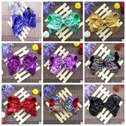 Wholesale Wholesale Clips For Kids Hair - 8 inch Sparkly Girl Jumbo Jojo Rainbow Sequin Hair Bows On Alligator Clip For Kid Girl Hair Clip CCA7971 100pcs