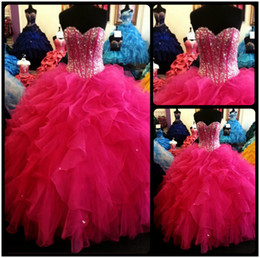 Wholesale teen sweet sexy - Glitter 2016 Quinceanera Dresses Sweetheart Organza Ruffles Skirt Crystal Beaded Sweet 15 Teens Party Dresses Ball Gown Real Photos