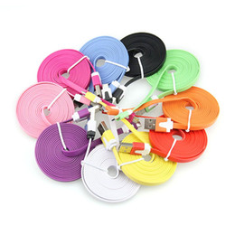 Wholesale Noodle Cables - 300pcs lot New 3FT 6FT 10FT Colorful Noodles Flat V8 Micro USB Data Charger Cable for Samsung Galaxy S4 i9500 S3 i9600 S7 N7100