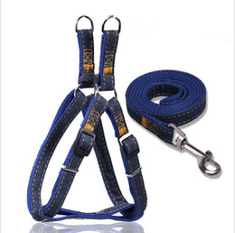 Wholesale Dog Denim - Dog Harness Collar Lead Jean Denim Chest Harness Adjustable Thickened Resistant Dog Neck Strap Collar Leashes