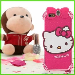 Wholesale Kitty Cell Iphone Case - Cell Phone Cases 3D Cartoon for Iphone 6plus Cute Hello kitty Diamond Soft Silicone Mobile Cells Case Lovely Animal Stereo Cover dhl