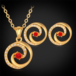 Wholesale Real Red Crystal Necklace - Red Austrian Rhinestone 18K Real Gold Plated Pendant Necklace Stud Earrings For Women Jewelry Set Fashion Jewellery