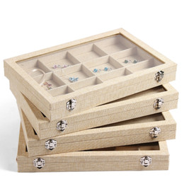 Wholesale Bracelet Organizer Box - Large Linen Jewelry Box Earrings Necklaces Bracelets Ring Jewelry Display Box Jewelry Tray Jewelry Organizer Storage Stand Holder