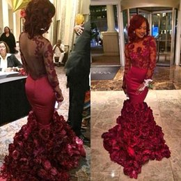 Wholesale Short Rose Pink Prom Dress - 2017 Sexy Burgundy Prom Dresses Mermaid Apliques with Rose Floral Flowers Long Sleeves Backless Formal Party Evening Dresses BA1875