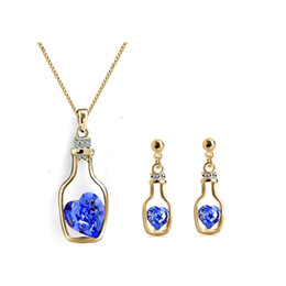 Wholesale Cheap Designer Jewelry For Women - Necklace and Earring Sets for Brides Colorful Crystal Butterfly Cheap Earrings and Necklace Sets Designer Women Jewelry Love drift bottle