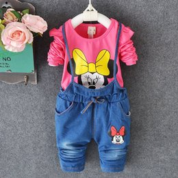Wholesale Miki Red - Miki Mouse Sets Kids Clothes 2015 Christmas Autumn winter Long Sleeve 1Y-4Y Foy Girls Cartoon Children Clothing Newborn Baby GirlClothes