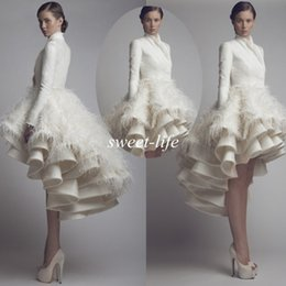 Wholesale Krikor Jabotian Short Wedding Gown - Chic Wedding Dresses 2015 Fall Winter Long Sleeve High Collar Short Front Long Back Satin Feather Krikor Jabotian Bridal Wedding Party Gowns